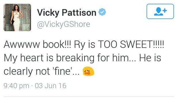 Vicky Pattison's supportive tweet to Love island's Rykard Jenkins, 4/6/16