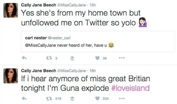 Cally Jane Beech tweets about Zara Holland 2 June