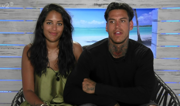 Malin Andersson and Terry Walsh on ITV's Love Island, 2/6/16