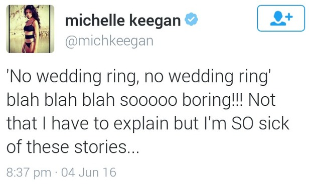 Michelle Keegan's tweets about wedding ring, 5/6/16