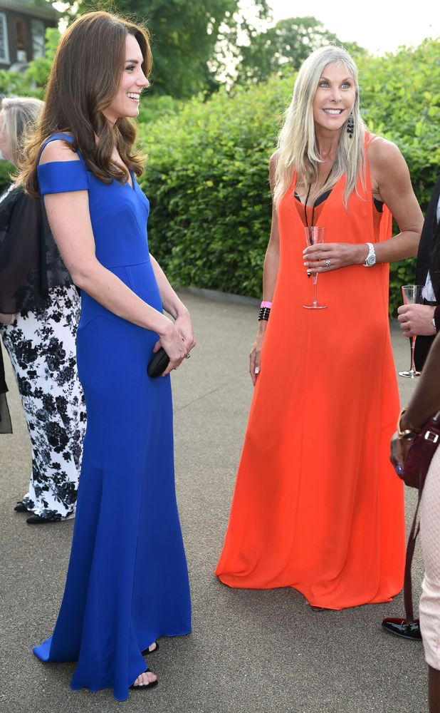 Kate Middleton and Sharon Davies, SportsAid anniversary dinner, Kensington Palace, 9 June 2016