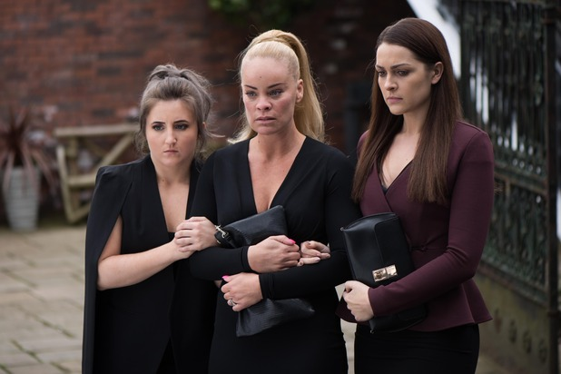 Hollyoaks, Grace, Sienna, Esther at Trevor's funeral, Tue 14 Jun