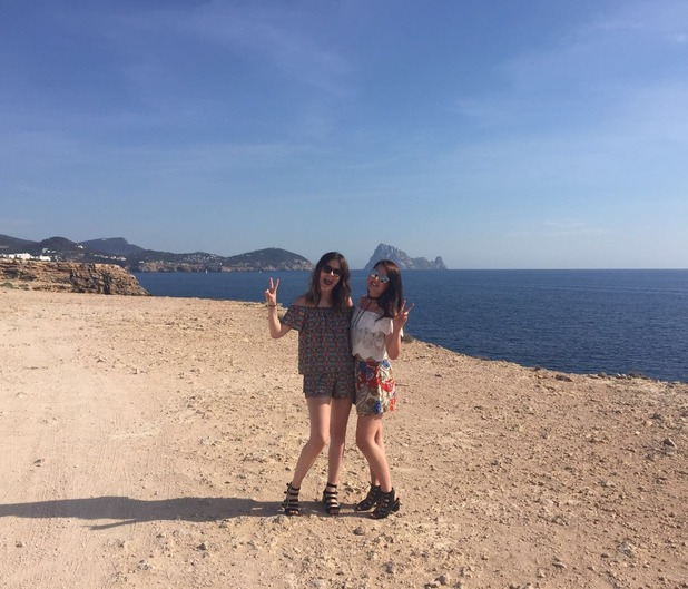 Harriet and Charlie from Reveal's fashion team in Ibiza.