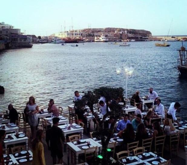 Maria Fowler and Kelvin Batey enjoy a meal in Crete - 8 June 2016