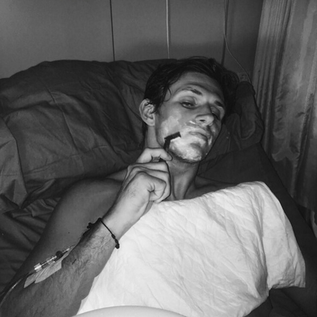 Jake Hall shares photo from hospital bed in Marbella 6 June 2016