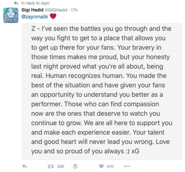 Gigi Hadid tweets about Zayn Malik's decision to pull out of Capital FM's Summertime Ball 12 June