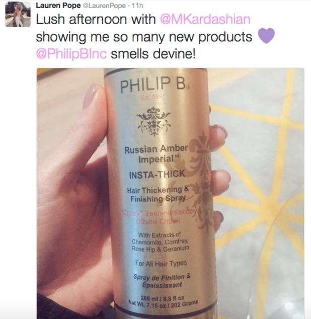Lauren Pope tweets her love of Philip B haircare, 13 June 2016