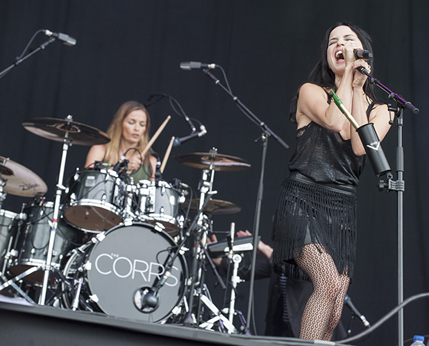 Caroline Corr and Andrea Corr of the Corrs performing on stage at Seaclose Park on June 11, 2016 in Newport, Isle of Wight. (Photo by Mark Holloway/Redferns)