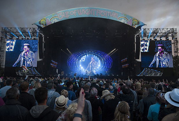 Queen + Adam Lambert perform on stage at Seaclose Park on June 12, 2016 in Newport, Isle of Wight.