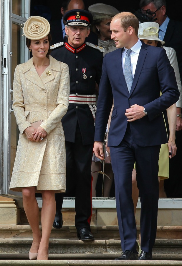 The Duke and Duchess of Cambridge accompanied by Theresa Villiers, the Secretary of State for Northern Ireland attend a garden party at Hillsborough Castle, County Down