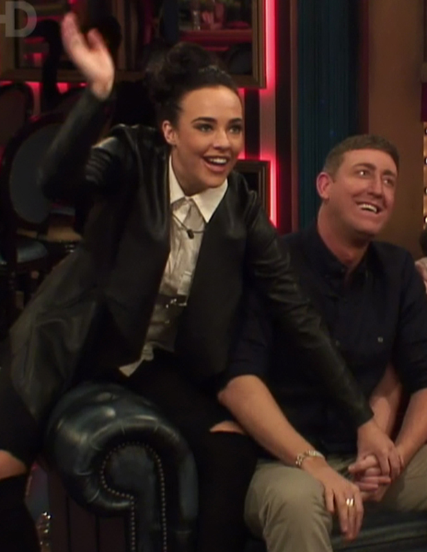 Celebrities await the public vote on 'Celebrity Big Brother - Live Eviction'. Broadcast on Channel 5 HD Stephanie Davis and Christopher Maloney