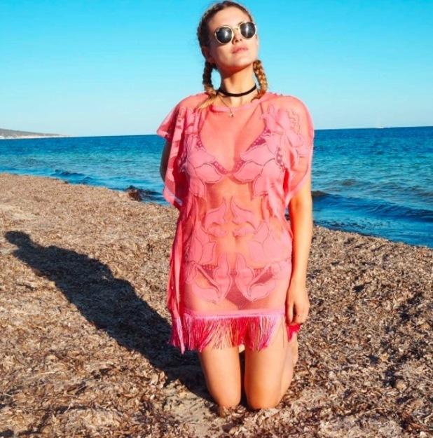 Former Made In Chelsea star Ashley James wears Lipsy kaftan on the beach, 20th June 2016