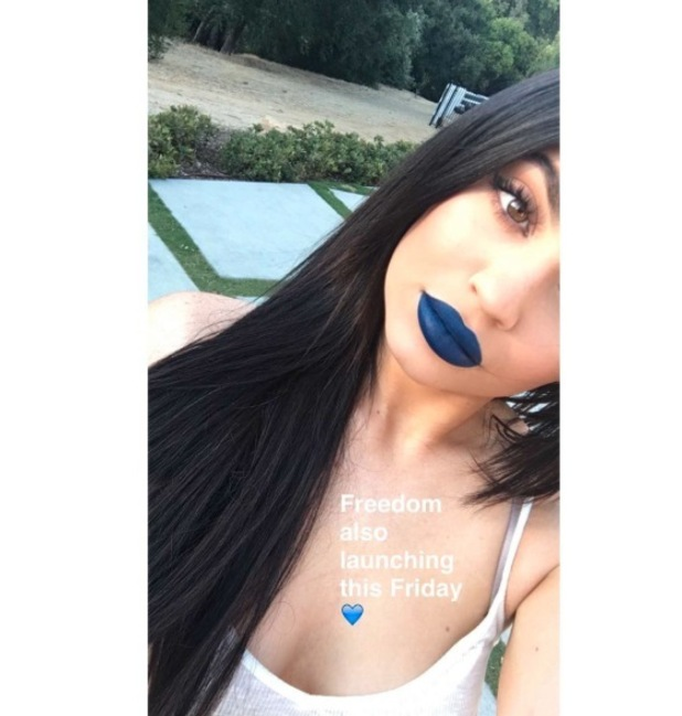Keeping Up With The Kardashians star Kylie Jenner unveils two new blue Lip Kit shades: Skylie and Freedom, 20th June 2016