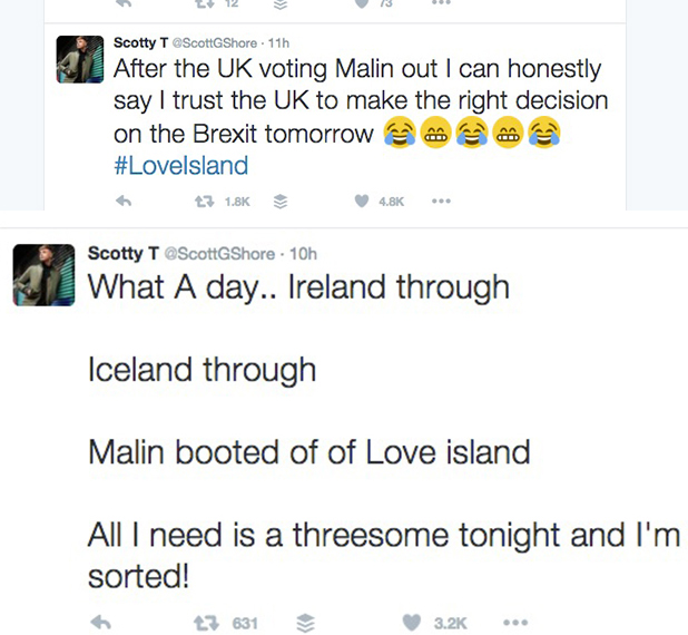 Scotty T happy that Malin Andersson has left Love Island, ITV2