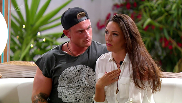 Tom Powell consoles a shocked Sophie Gradon after Malin Andersson was eliminated from the ITV reality show 'Love Island'. Broadcast on ITV2 HD.