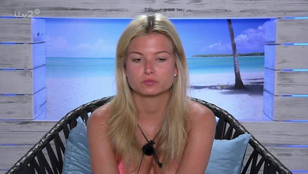 Zara Holland regretting her night with Alex Bowen on ITV reality show 'Love Island'. Broadcast on ITV2 HD.