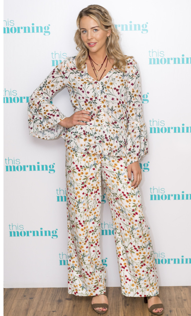 Former TOWIE star Lydia Bright wears M&S floral suit on This Morning, 27th June 2016