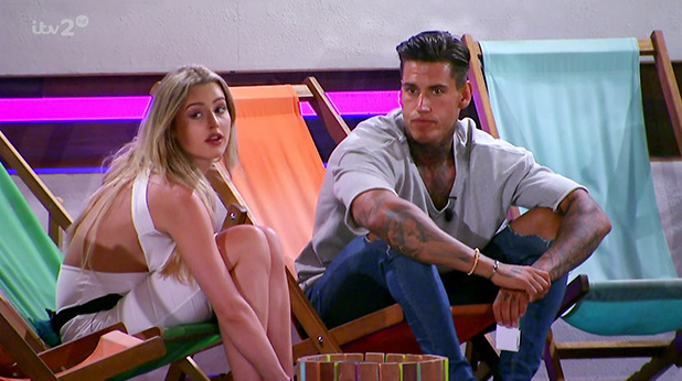 Tina Stinnes and Terry Walsh on ITV reality show 'Love Island'. Broadcast on ITV2 HD.
