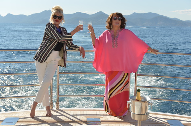 Absolutely Fabulous: The Movie still with Patsy (Joanna Lumley) and Eddie (Jennifer Saunders)