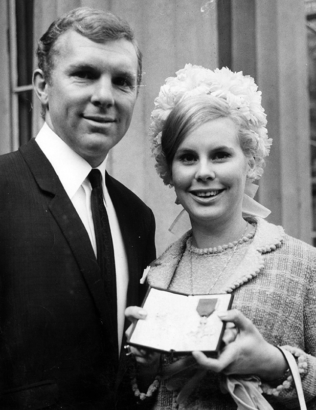 Footballer Bobby Moore With His Wife Tina Moore At Buckingham Palace After He Received His Obe. 14 Feb 1967