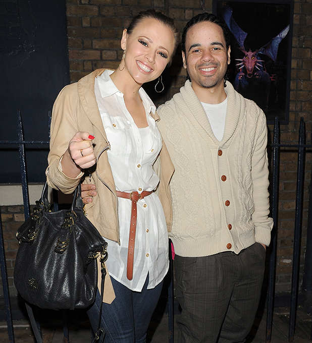 Kimberley Walsh leaving the Theatre Royal with her boyfriend Justin Scott after she performed in 'Shrek: The Musical'. London, England - 15.03.12