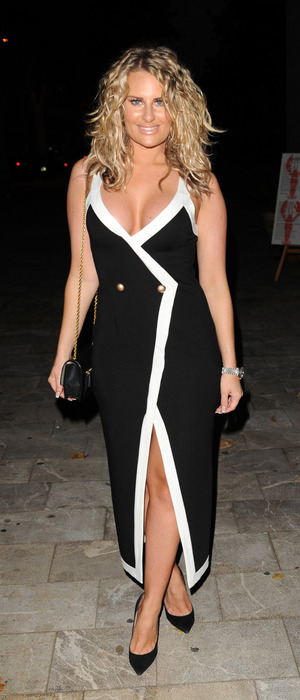 TOWIE star Danielle Armstrong wears black and white dress as she films The Only Way Is Essex in Majorca, Spain, 4th July 2016
