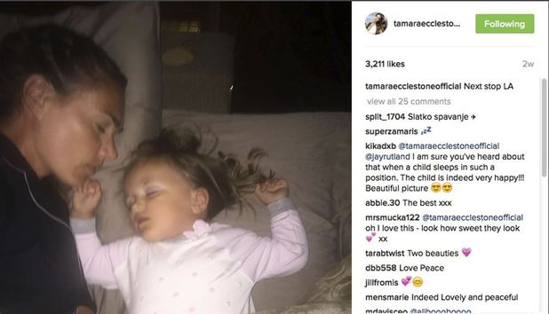 Tamara Ecclestone and her daughter sleep together as posted on her Instagram account