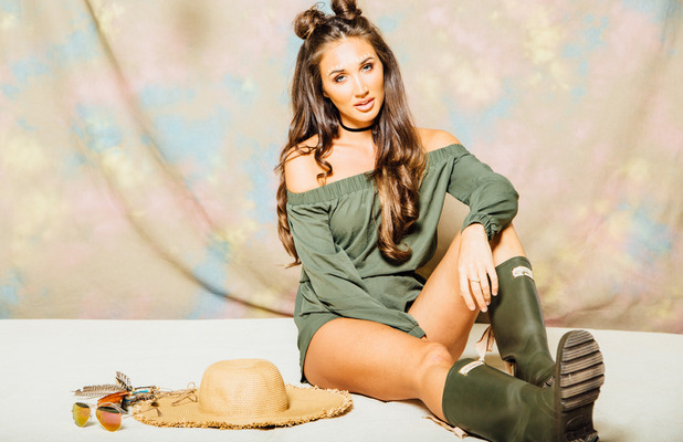 Ex On The Beach and TOWIE star Megan McKenna launches her festival fashion collection, green playsuit, 6th July 2016