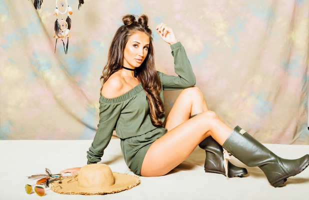 Ex On The Beach and TOWIE star Megan McKenna launches her festival fashion collection, green playsuit shot 2, 6th July 2016