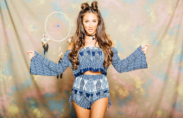 Ex On The Beach and TOWIE star Megan McKenna launches her festival fashion collection, blue sets, 6th July 2016