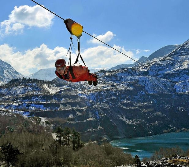 British staycations - zip wire in Snowdonia
