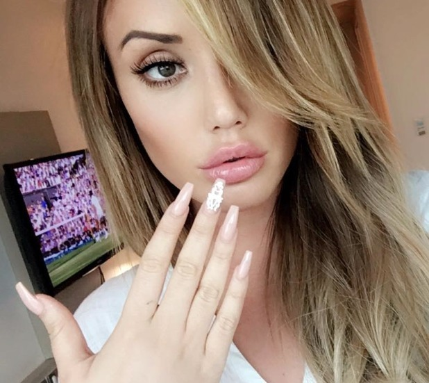 Charlotte Crosby nude/embellished manicure by Amy Ganney for Secret Spa UK, 6 July 2016