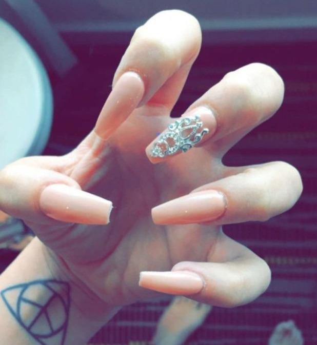 Charlotte Crosby nude/embellished manicure by Amy Ganney for Secret Spa UK, 6 July 2016