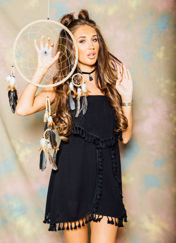 Ex On The Beach and TOWIE star Megan McKenna launches her festival fashion collection, black dress, 6th July 2016