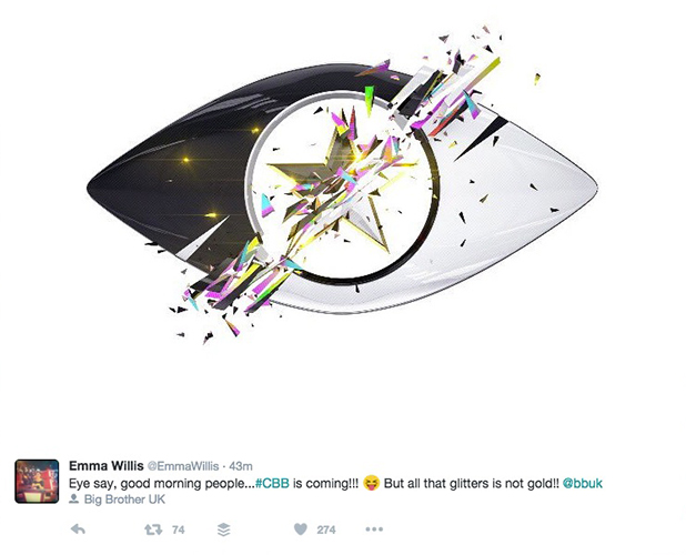 Celebrity Big Brother summer 2016 eye logo tweeted by Emma Willis 8 July 2016