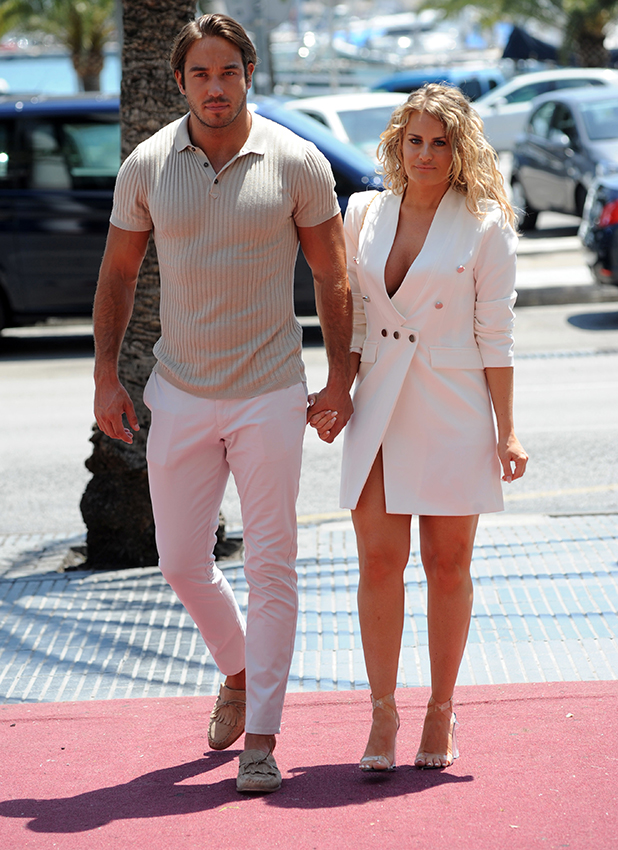 TOWIE's Danielle Armstrong and Lockie arrive for filming in Majorca, 6 July 2016