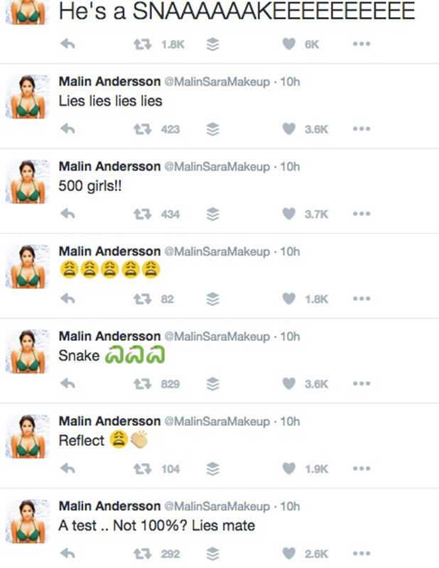 Malin Andersson tweets after Love Island return, episode 36
