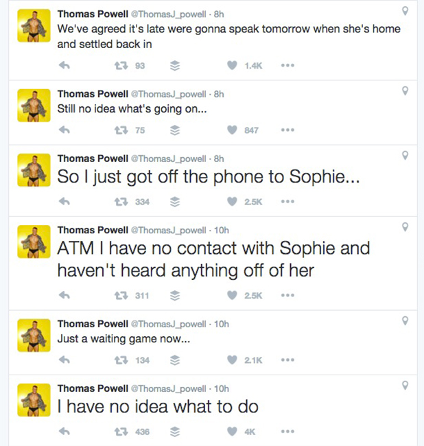 Tom Powell tweets about Sophie Gradon's Love Island exit 6 July 2016