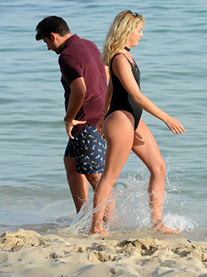 TOWIE filming in Palma, Mallorca: Arg and Lydia on the beach 4 July 2016
