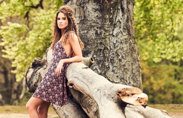Made In Chelsea star Binky Felstead launches her high summer collection with In The Style, printed paisley dress, 12th July 2016