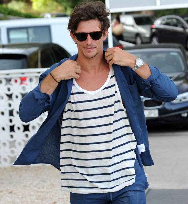 Jake Hall pictured with TOWIE cast in Palma, Majorca 4 July