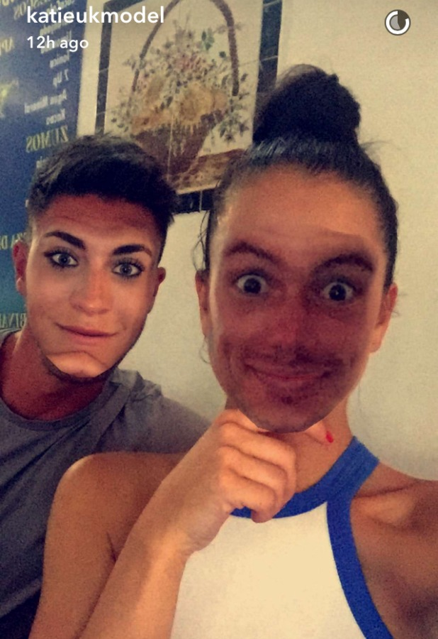 Love Island's Katie Salmon and Adam Maxted try out Face Swap, 12 July 2016