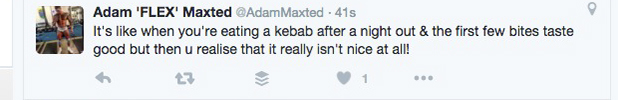 Love Island's Adam Maxted tweets metaphor about kebabs 15 July 2016