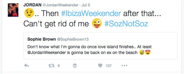 Jordan Davies tweets he's returning to Ibiza Weekender