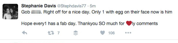 Stephanie Davis tweets about Jeremy McConnell after he responds to her baby bump interview 10 July 2016