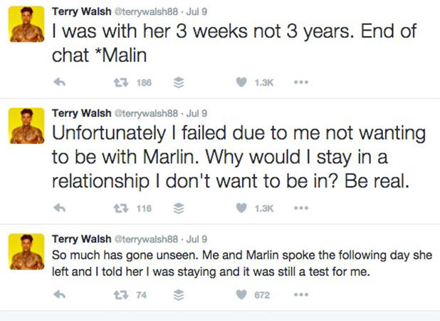 Love Island: Terry tweets about Malin after his elimination, 2016