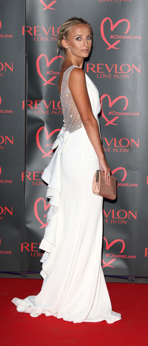 Made In Chelsea's Tiffany Watson at the Revlon Choose Love masquerade ball, The Victoria and Albert Museum, London, 21 July 2016