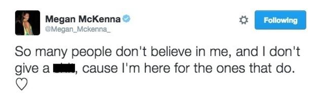 Megan McKenna tweet following latest Chloe Lewis rumour, TOWIE 17 July