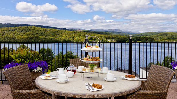 Food with a view at Burlington's restaurant in Lake Windermere, Cumbria.