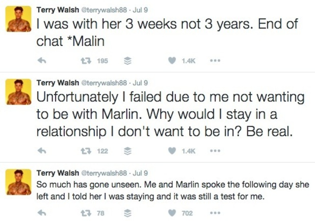 Terry Walsh spells Malin's name wrong on Twitter 20 July